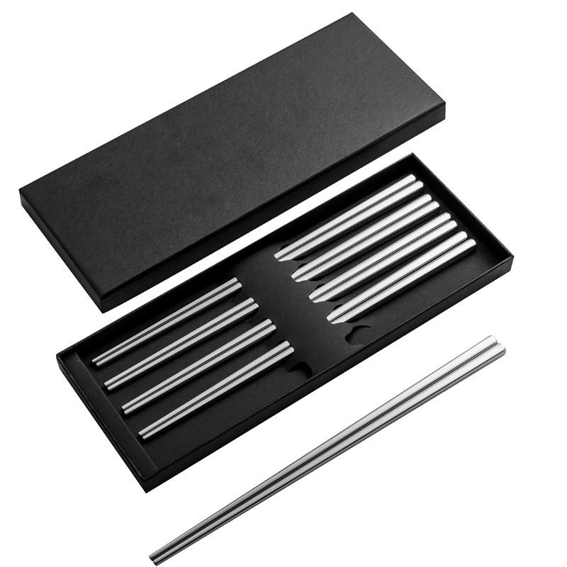 Wholesale Japanese 304 Stainless Steel Metal Chopsticks with Customized Logo