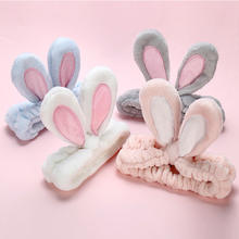 Custom Lovely Elastic Rabbit Ears Plush Hairband Women Girls Soft Face Washing Headband Headwrap Makeup hair accessories