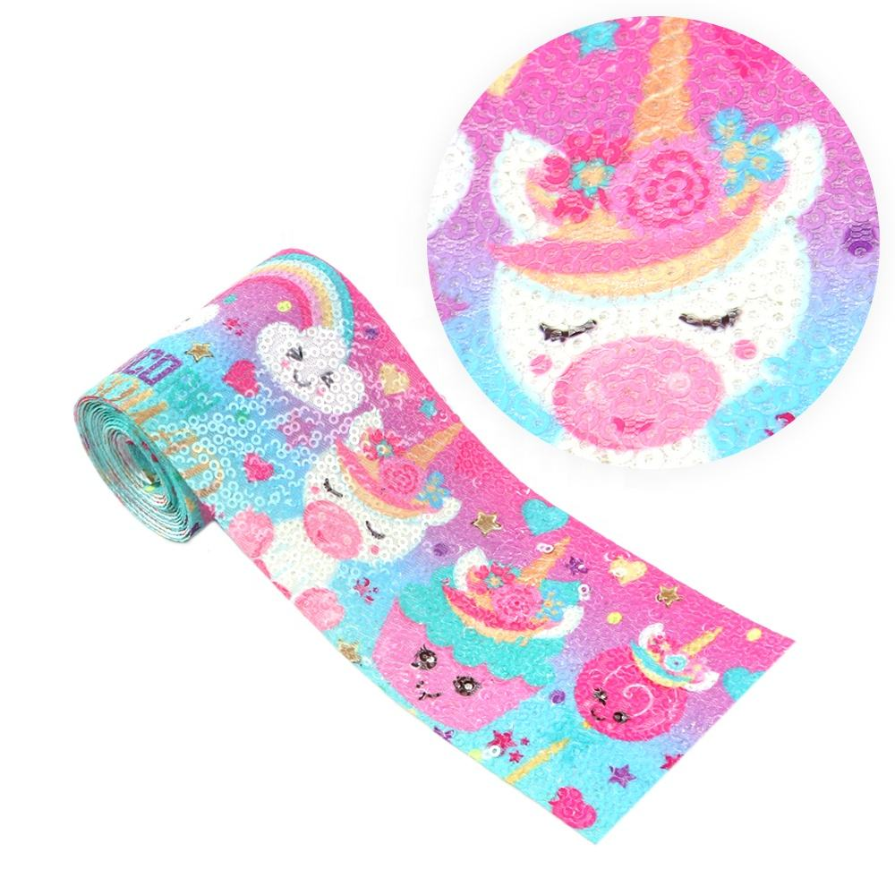 3 Inch 75 mm Custom Unicorn Princess Printed Embroidery Sequin Fabric Ribbon 6862
