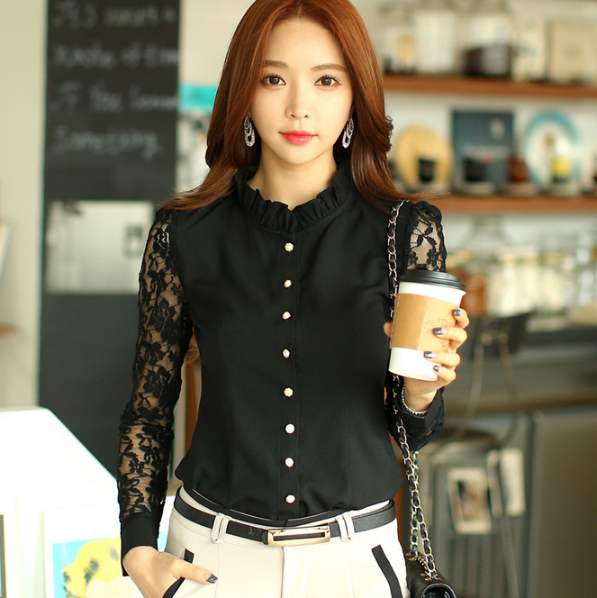 2016 long sleeve the new spring 2016 hollow out professional lace sexy blouse