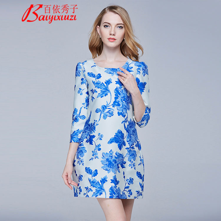 Women's Elegant long wrist Sleeve Wear to Work Casual Floral Dress And Summer Dress