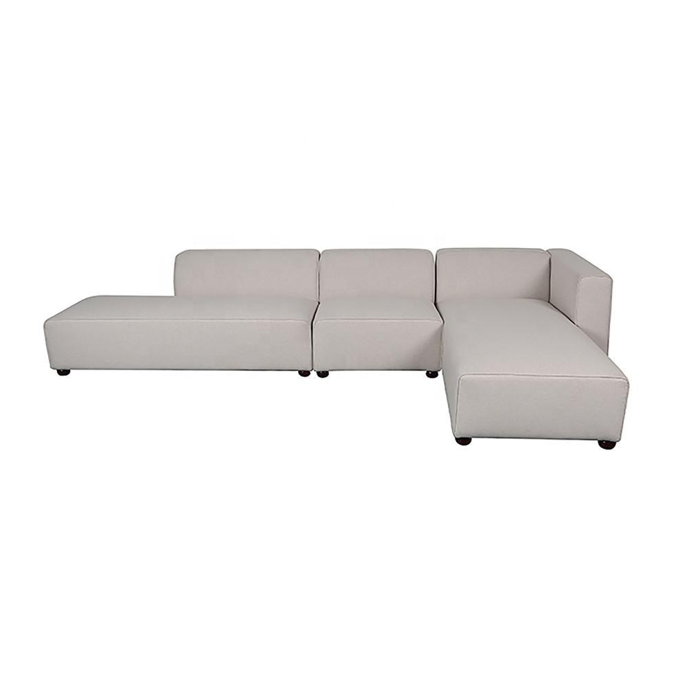 <span class=keywords><strong>Casa</strong></span> muebles de sala de tela blanca esquina sofá moderno europeo en forma de L sofá seccional
