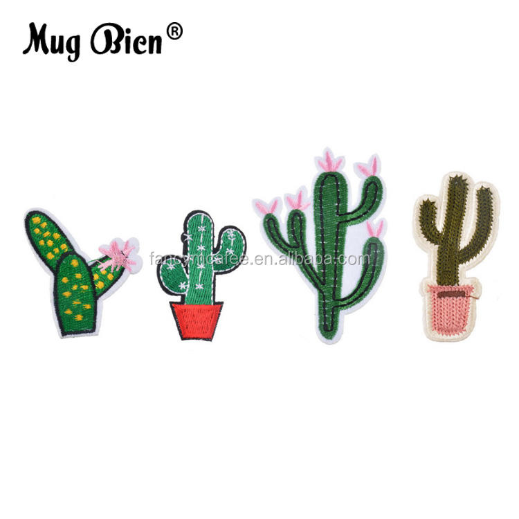 personalized hotsell laster cut mixed 4Pcs embroidered cactus patch