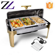 Electric heating gold roll top rectangle golden food warmer plate 9L best chafing dish buffet