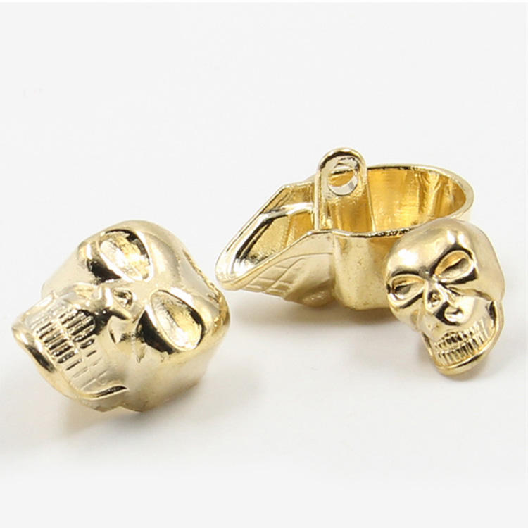 wholesale fashion 8mm 10mm 15mm sewing shank gold metal skull head button
