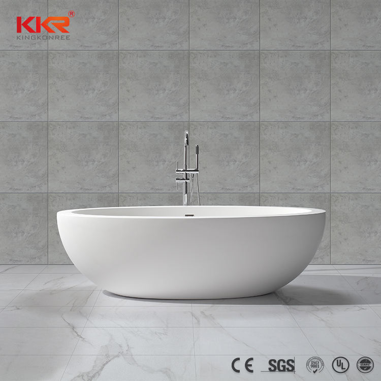 Bathroom Stone Tub Bathtub Large Size Composite Stone Oval Shaped Bathtub Soaker Standing Floor Bath Tub