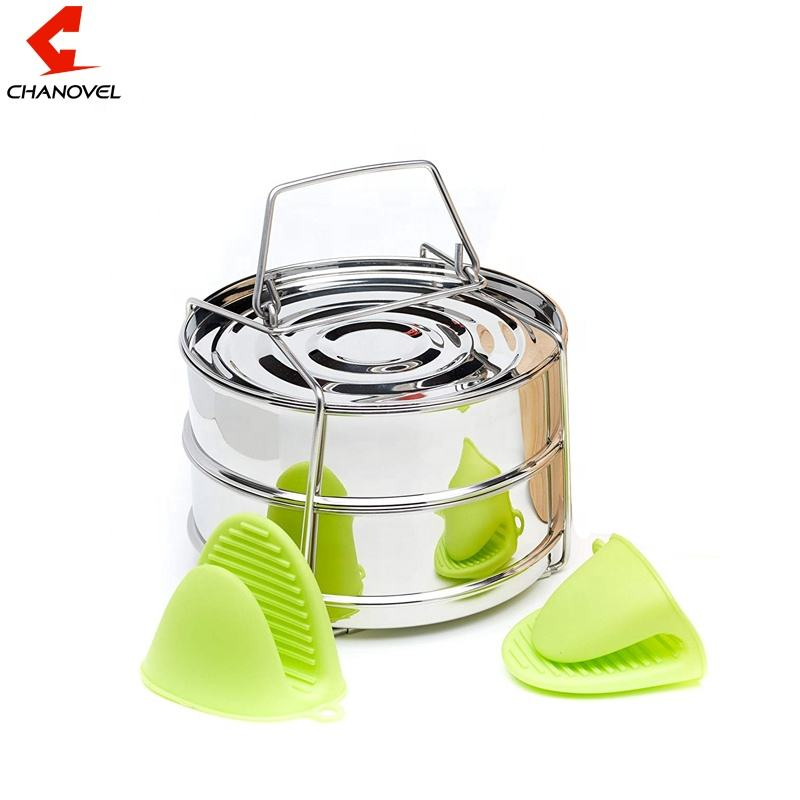 LFGB Stainless Steel Portable Stackable Food Steamer Basket Insert Pans Vegetable Double Boiler