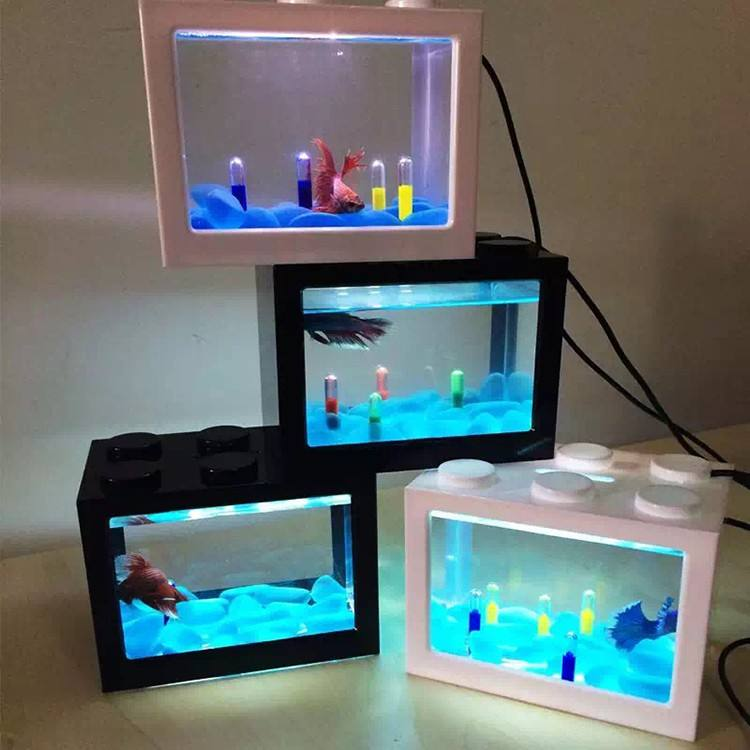 2018 Hot sale aquarium fish tank with USB LED lighting for christmas gift