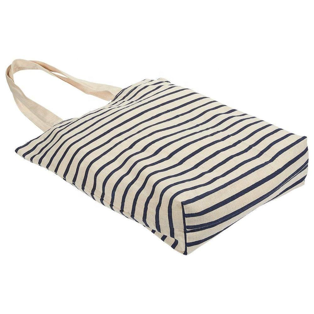 Custom foldable 감사해 요 printed reusable Striped canvas fabric tote 황 마 reusable string 쇼핑 carry bag