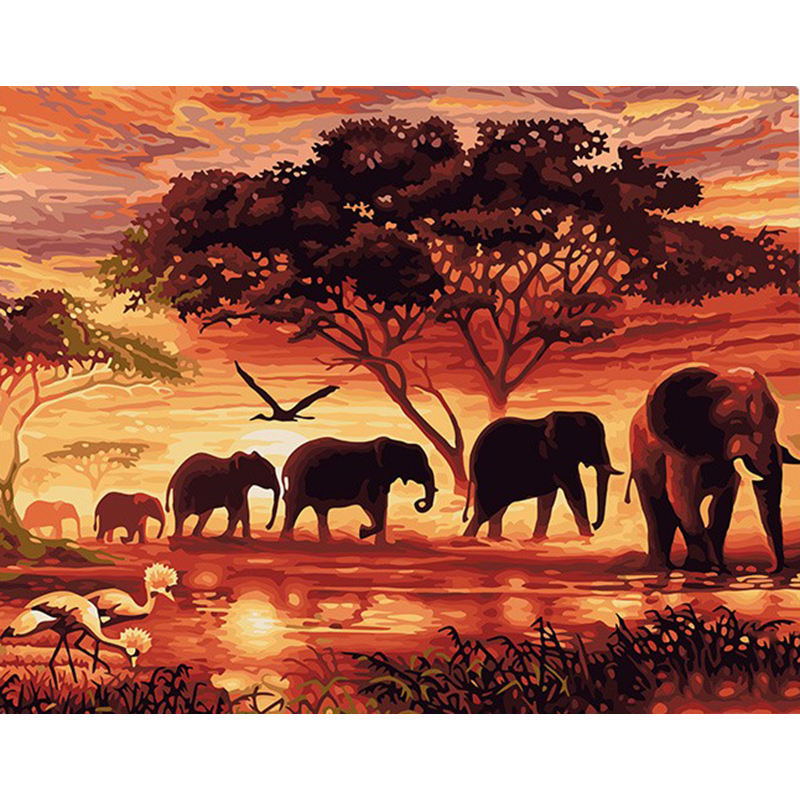 CHENISTORY DZ99019 Elephants Landscape abstract paint by numbers Modern Wall Art Canvas Painting Unique Gift For dro shipping