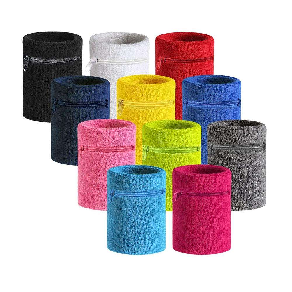 Cotton Terry Cloth Wrist Wallet sports wristband with zipper