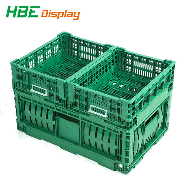 Heavy Duty HDPE Plastic Foldable Folding Vented Collapsible Fruit and Vegetable Storage Stackable Folding Crate