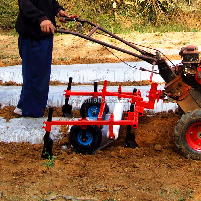 Factory direct sale cheap rotary cultivator plastic mulching layer machine