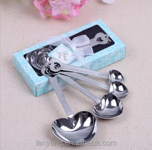 Wedding Favors Gift Stainless Steel Heart Shape Measuring Spoons in Pink Box