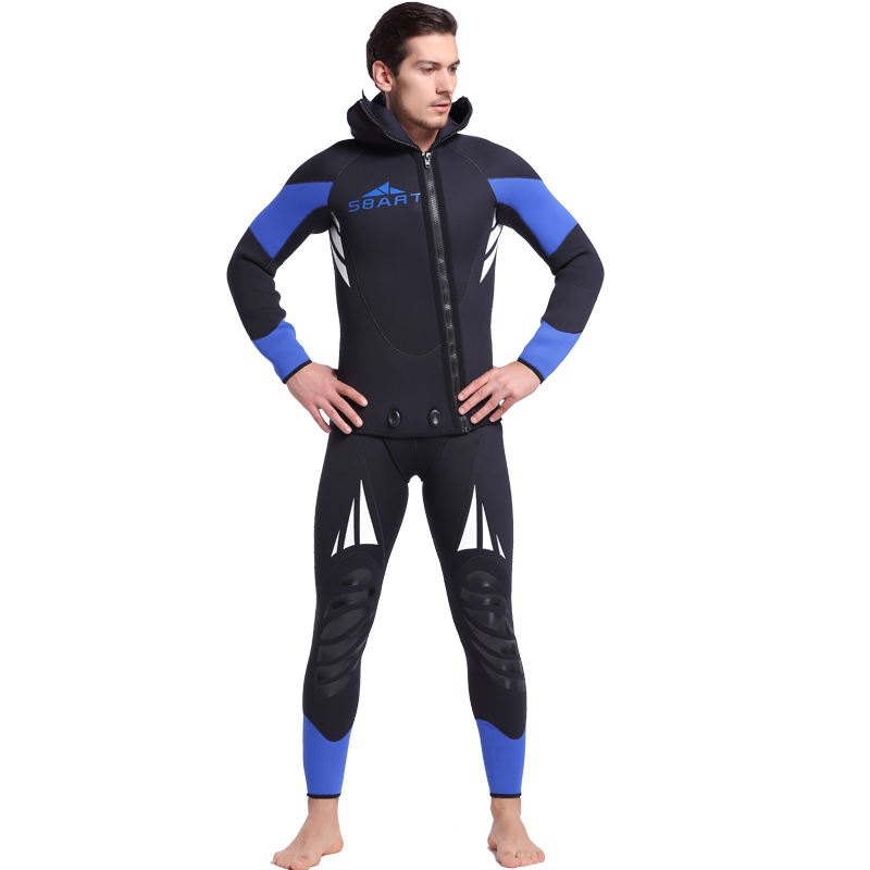 Men der 5MM Neoprene Wetsuit Two Pieces Sets Long Sleeve Open Cell Wetsuit With Hood für Spearfishing