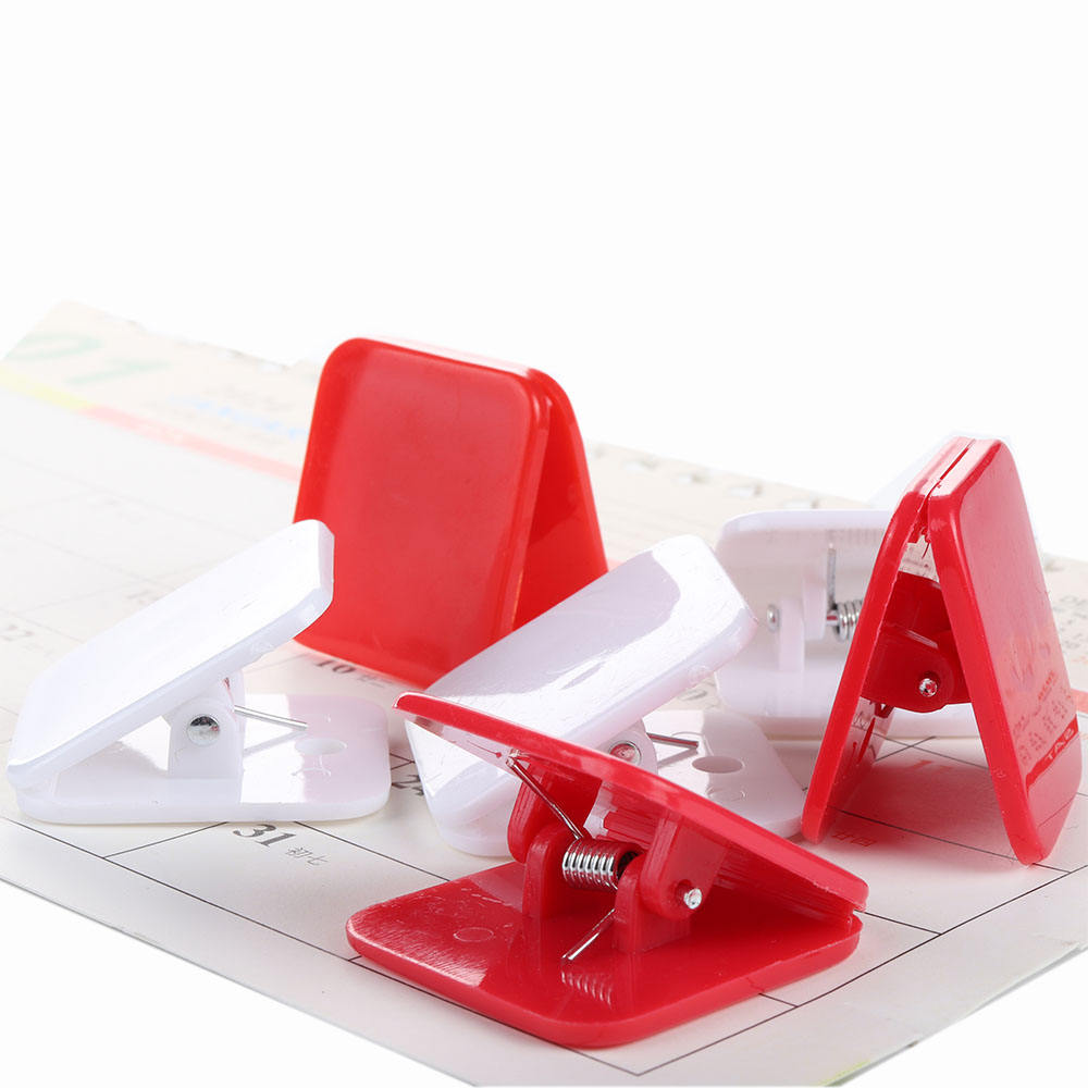 Hot selling red and white binder clips square plastic spring clips for office school supplies