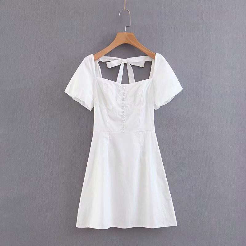 Good quality palace style short sleeve dress white color back tie design summer clothing