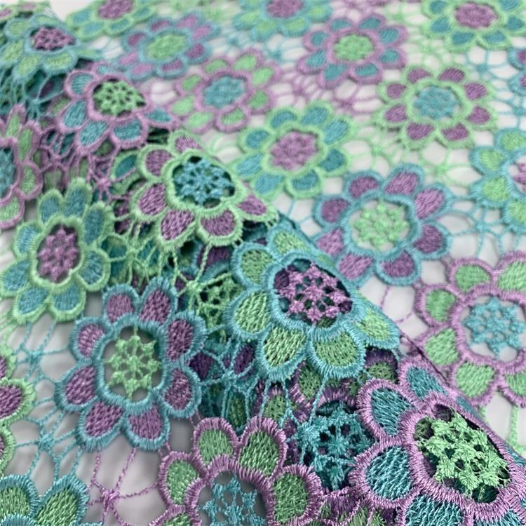 Hot flower design textiles plain stock plain coloured fabric embroidery