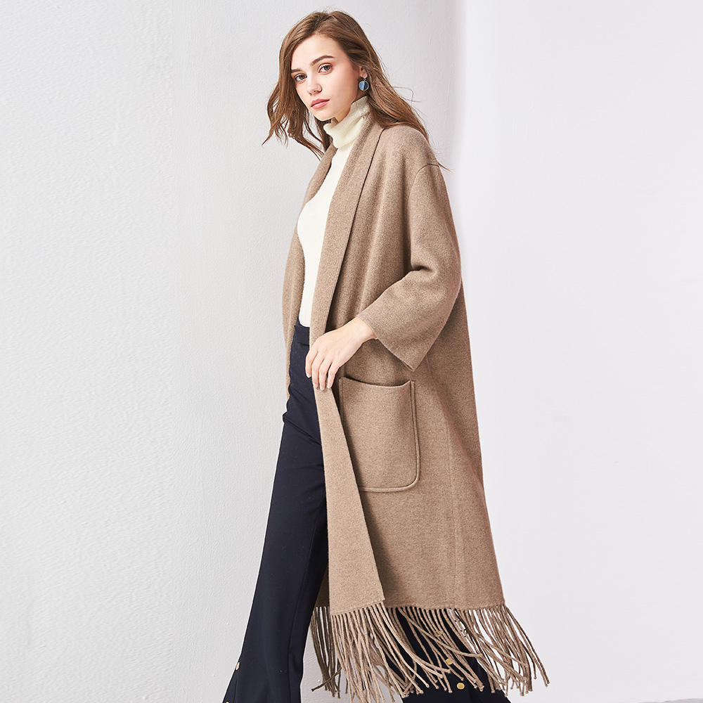 Stylish elegant beautiful light brown tassels women long sweater/cardigan