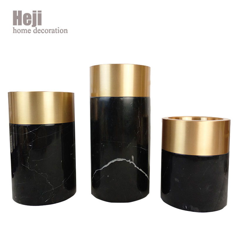 Beautiful High Classic Tall Handmade Round Black Marble The Flower Vase