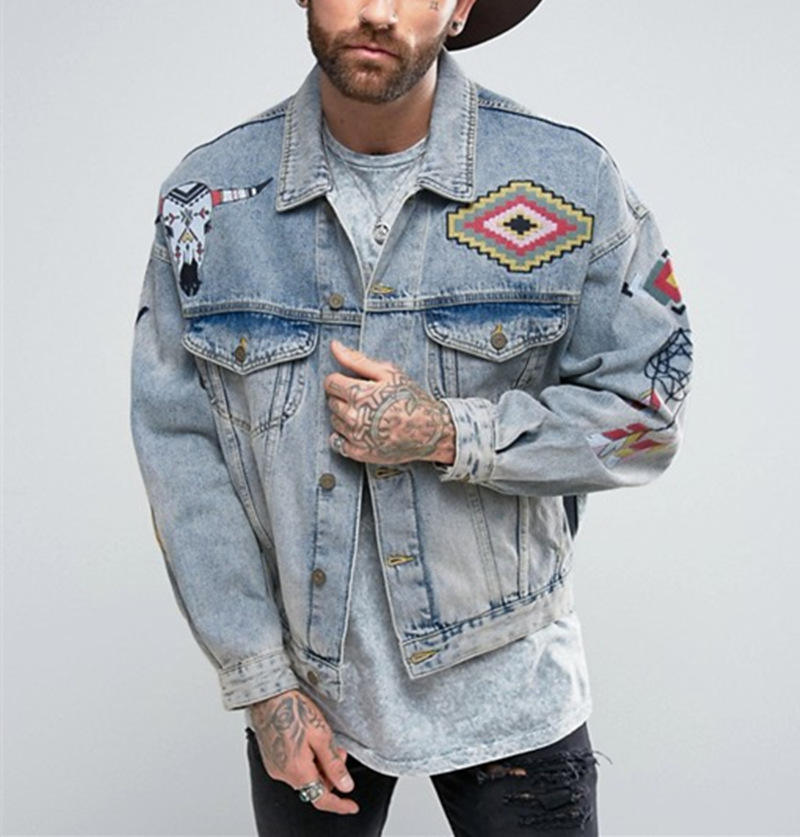 2019 In Trend Oversized Denim Jacket with Embroidery in Blue Wash Men's Denim jacket