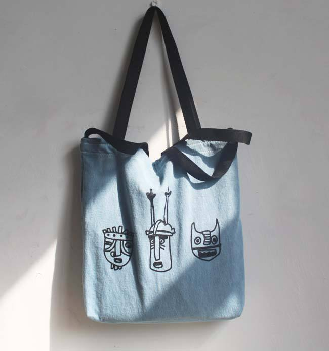 Encargo al por mayor washed Denim lona impresa bolso de mano