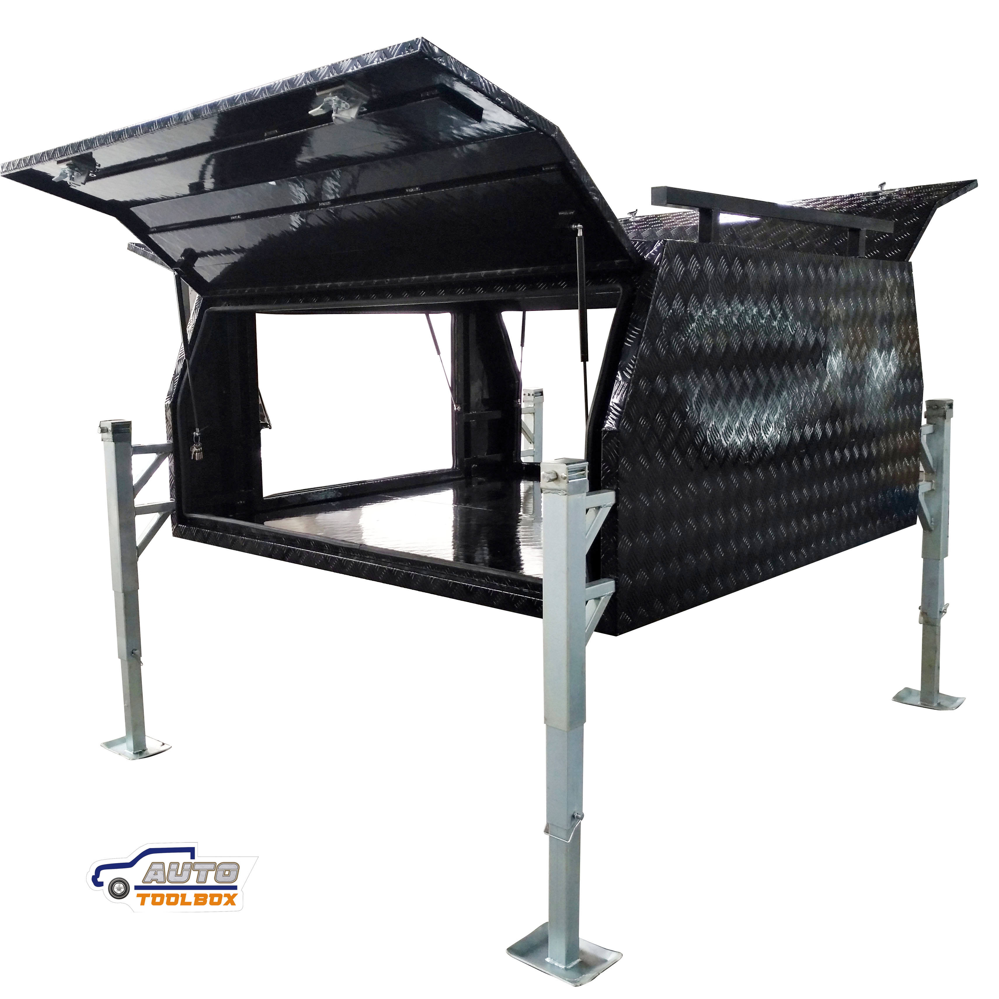 Waterproof Aluminum Powder Coat Truck Tool Box Truck Canopy with three doors BH-C2100JB