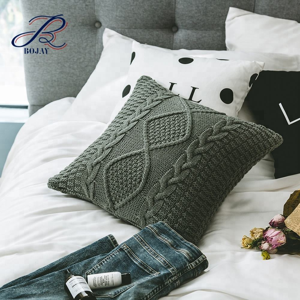 Bojay China Manufacturer Fancy 100% Acrylic Cable Knit Pillow Cover Decorative Home Decorative Gift bulk pillow cases