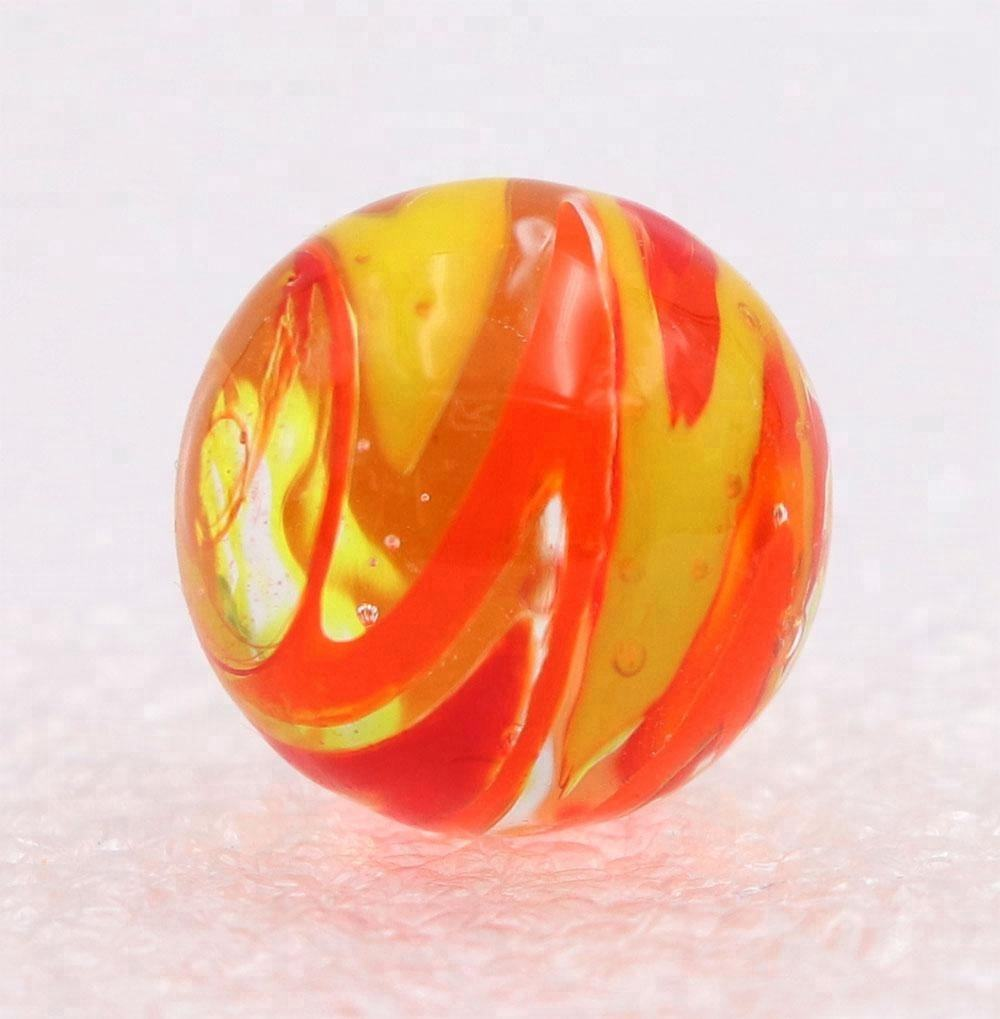 NEW SINGLE HANDMADE SILVER TAPE 25mm GLASS MARBLE COLLECTORS ORANGE