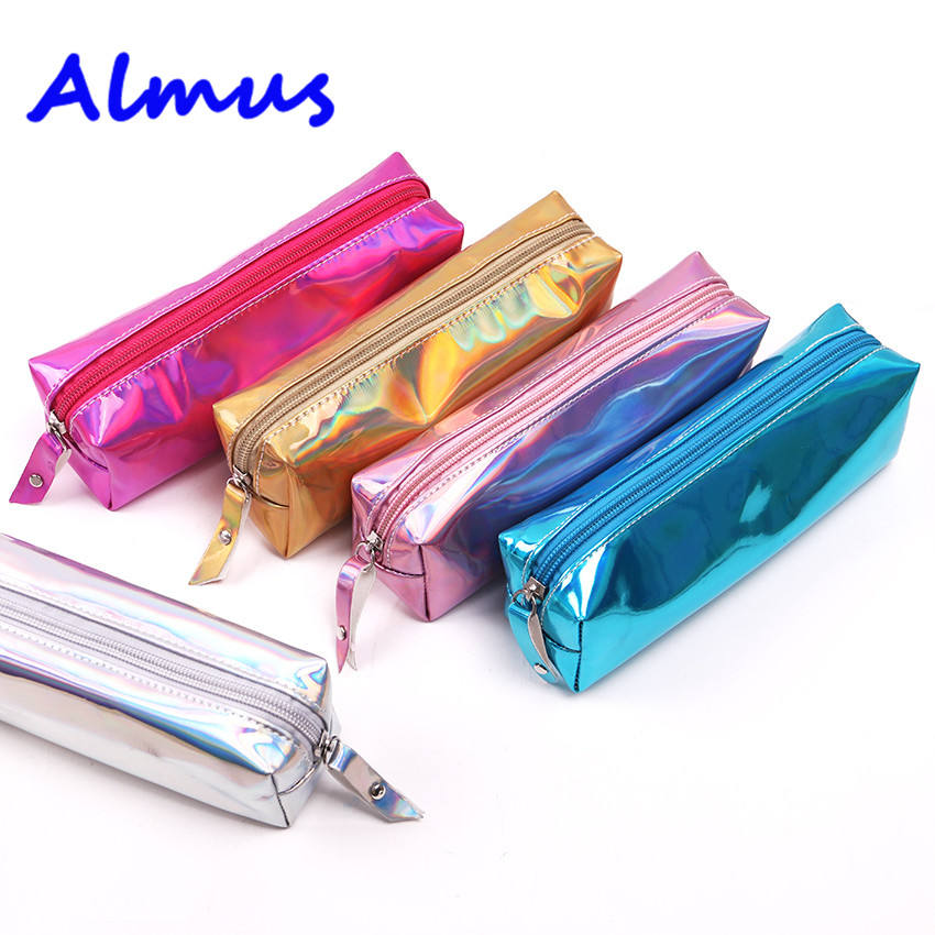 Laser Pencil Case PU School Supplies Stationery Gift For School Tools