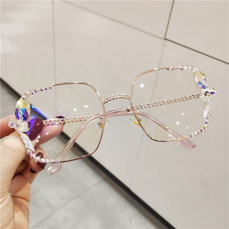 vintage Square sunglasses 2019 women sunglasses Brand design Luxury crystal clear lens glasses girls oculos de sol feminino