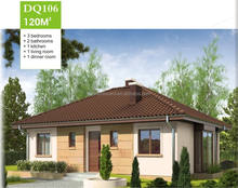 120sqm prefab house EPS cement panel - living room, bedrooms, bathrooms, kitchen and dinner room
