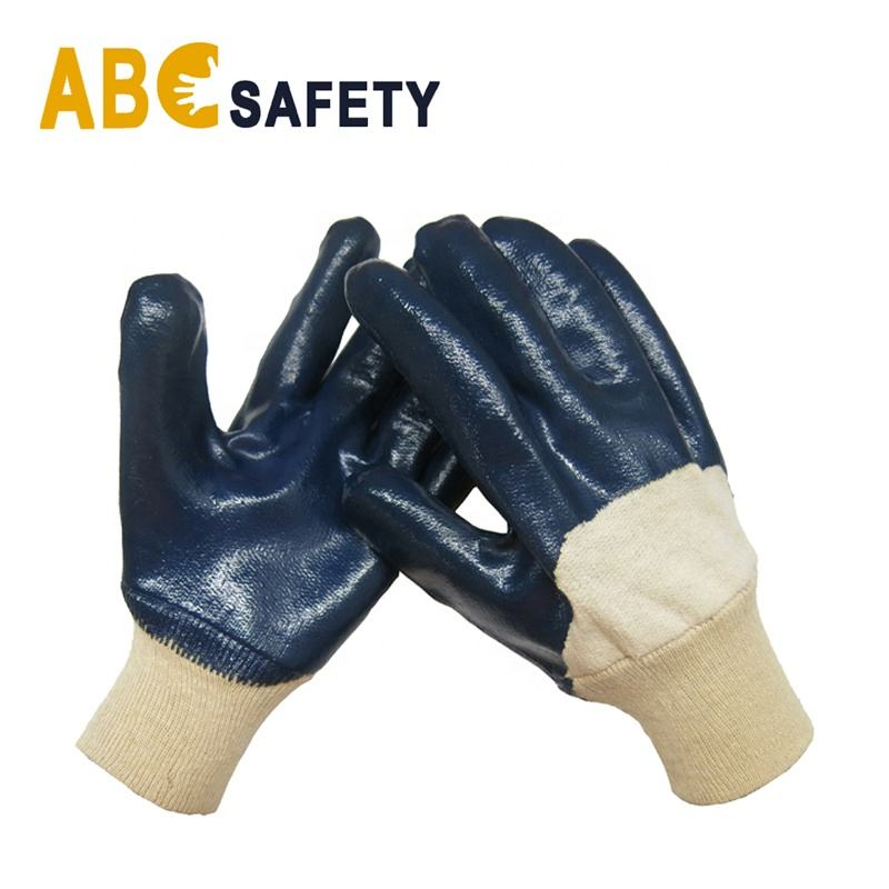 ABC SAFETY Wholesale Blue Cotton liner 3/4 Nitrile coated Safety Gloves