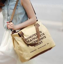 Fashion sling canvas tote bag leather handle shoulder bag 100% cotton canvas bag with custom logo