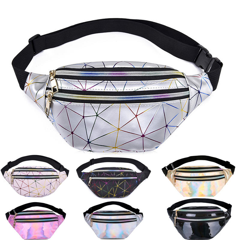 Customized Holographic Pink Silver Women Belt Bag Ladies Waist Pouch Women Fanny Pack Waist Bag for women