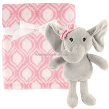 Pretty Pink 30 X 30'' Elephant Hooded Baby Bath Towel Custom Cute Polar Coral Fleece Super Soft Plush Animal Elephant Blanket