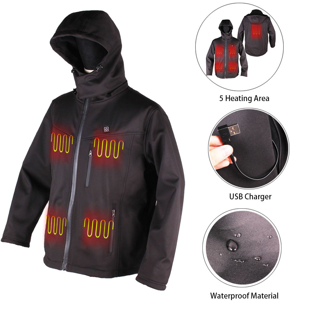Waterproof USB Outdoor Rechargeable Battery Powered Winter Heated Jacket for Ski
