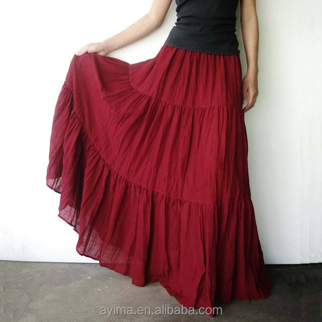 Deep Red Cotton Gauze Women Skirts Hippie Gypsy Boho Tiered Long Peasant Indian Skirts Wholesale