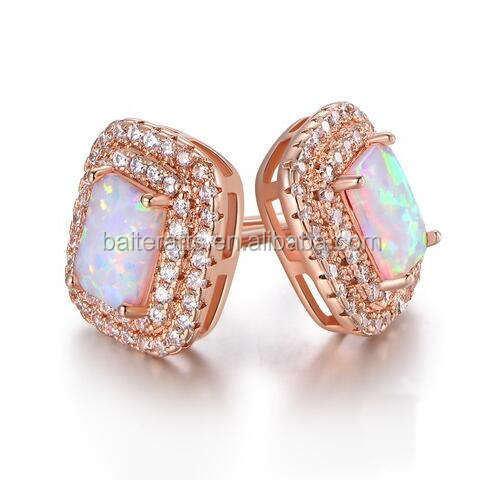 Rose Gold Plated 925 Sterling Silver Cubic Zirconia CZ Radiant Cut Fire Opal Double Halo Diamond Stud Earrings