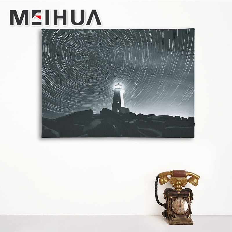 Elegant series new popular lighted canvas painting lighthouse scenery wall art