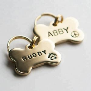 Custom engrave stainless steel dog tag bone shape pet id tag