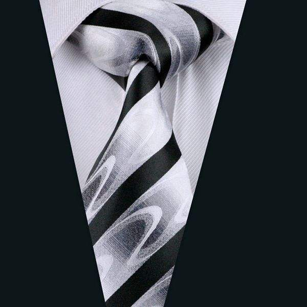 A1081 New Arrive Tie Black White Stripes Formal Business Floral Woven Fabric Silk Ties Set