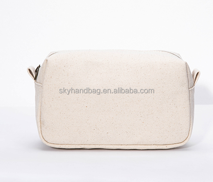Wholesale eco friendly cotton canvas fabric makeup zipper cosmetic bag