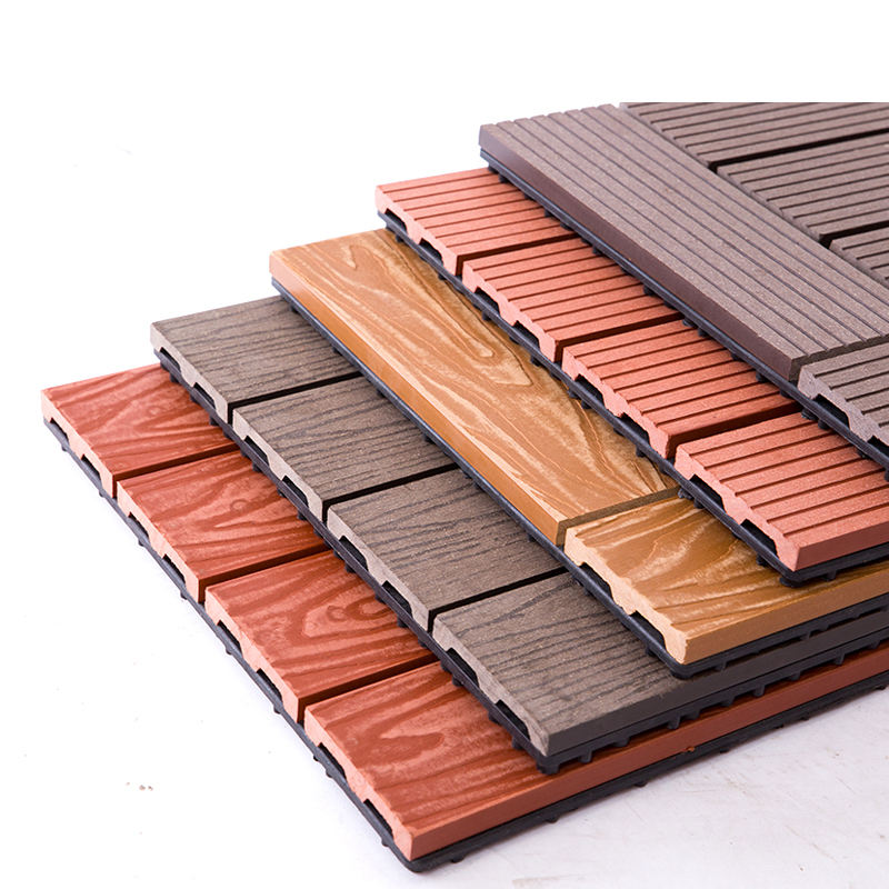 interlock waterproof outdoor decking tile 300*300mm DIY wpc tiles 3D embossing tile