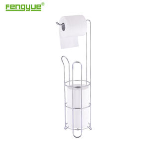 Flyer Holder Stand4 Roll Free Standing Toilet Paper Standing Toilet Paper Tissue Chrome Dispenser Storage Holder Stand