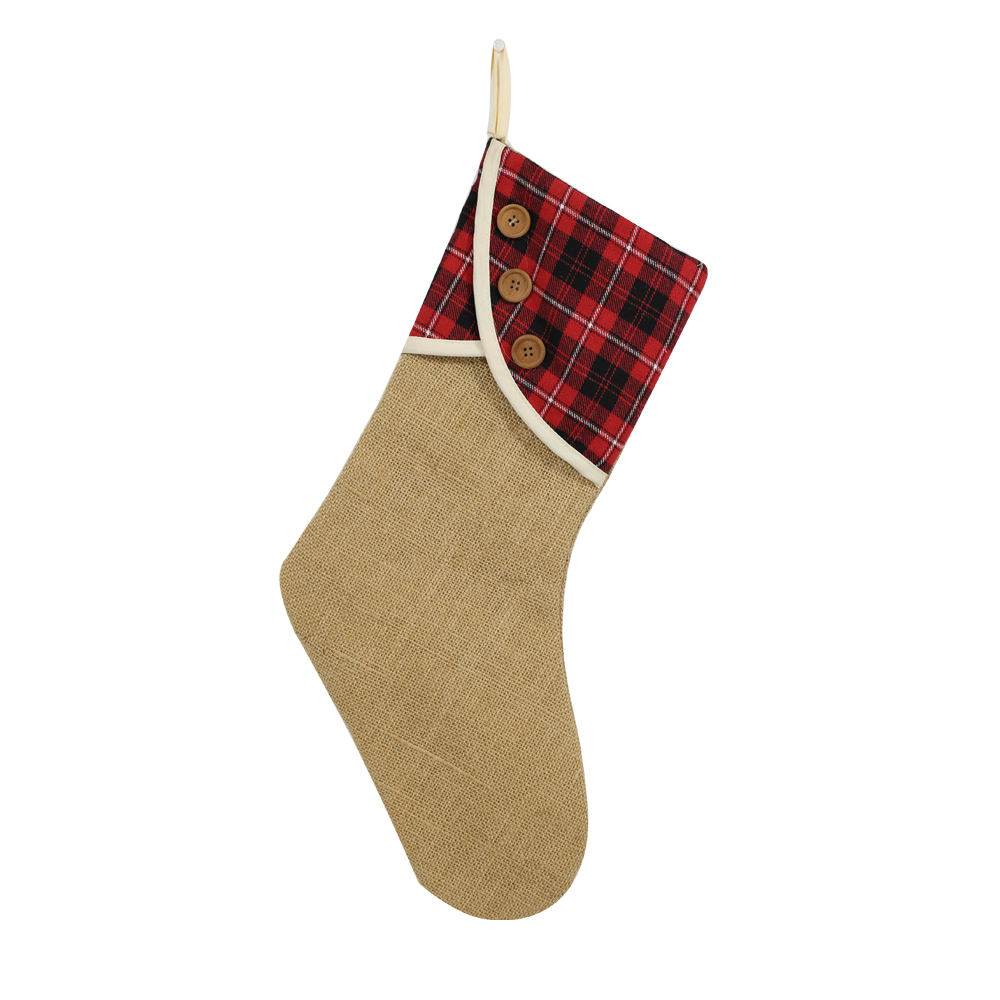 Christmas Tree Decorations Red Plaid Fabric Christmas Stockings