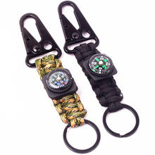 Cmart multifunctional braided keychain with compass,safety rope keychain,comping hiking keychain