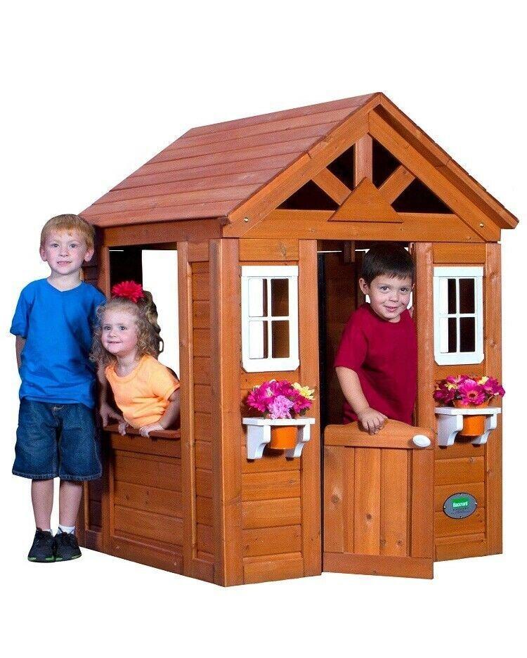 Outdoor wood playhouse kids Backyard Discovery kids Wooden Playhouse