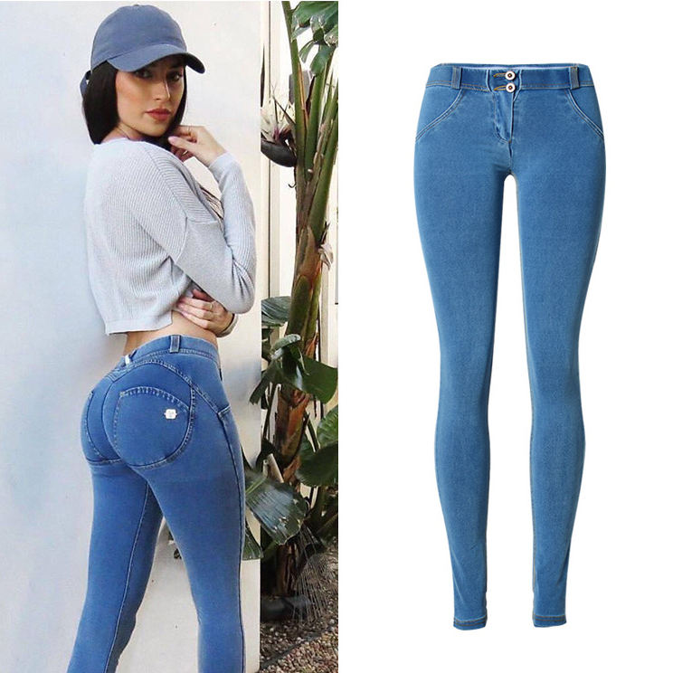 Fancy new product stretch skinny denim push up butt lift jeans women in stock