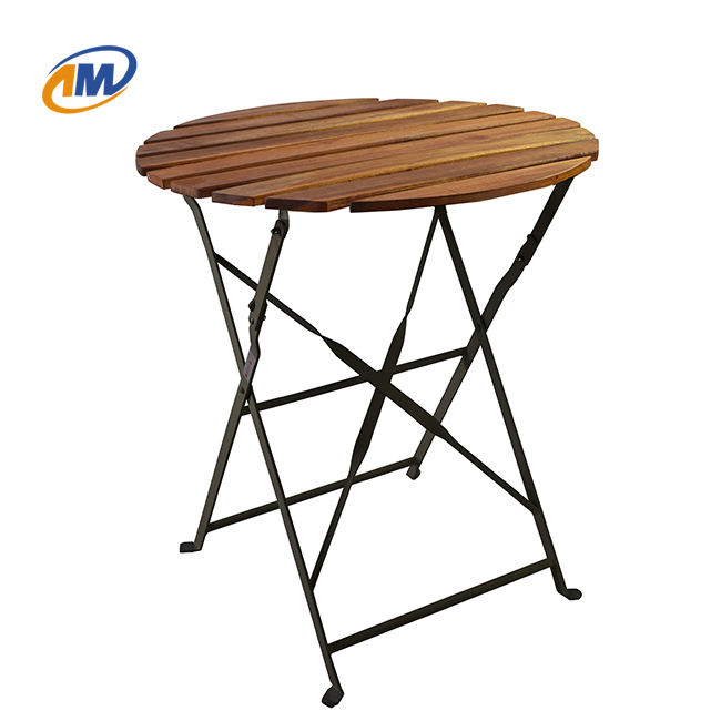 Folding Metal Wood Outdoor Bistro Table And Chair